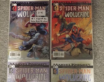 Rare Marvel Knights Spider-Man Wolverine comic book Mini Series 1 to 4 set WITH #1 signed by John Romita Sr. with COA proof #36 of 299