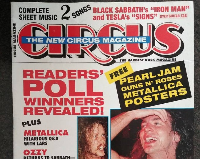 Rare vintage Circus Rock Magazine Readers Poll Issue Feb. 28 1993 Sheet Music 2 songs Metallica Ozzy