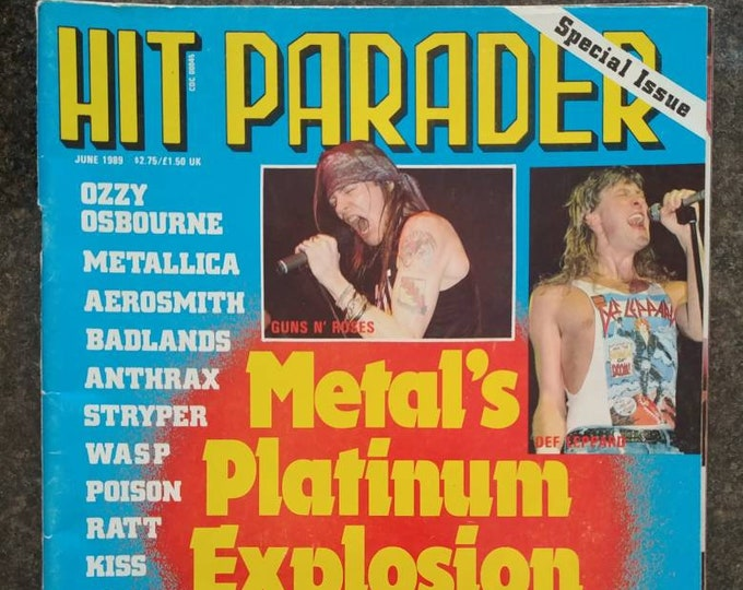 Vintage Hit Parader Magazine from June 1989 Special Issue Metal's Platinum Explosion Guns n Roses Poison Kiss Ratt