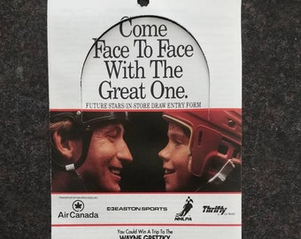 Rare 1992 Coca Cola Coke NHL Wayne Gretzky Sweepstakes contest Safeway entry form Can't Beat the Real Thing! Coca Cola Canada Ephemera