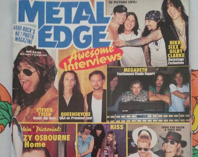 Hard to find vintage Metal Edge music magazine January 1995 Vol. 39 No. 8 Candlebox centerfold poster of early Megadeth band Metal Hard Rock