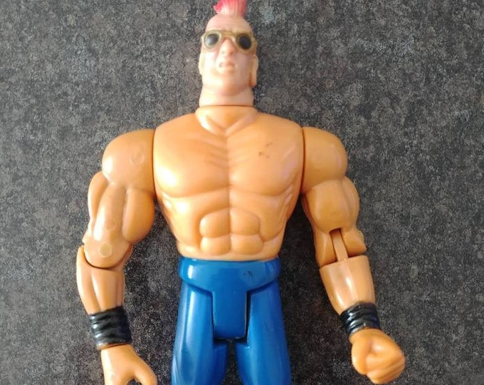 Hard to find WWE WWF Jakks Triple H mohawk hair Knock Off figure funny KO action figure wrestling 1990's