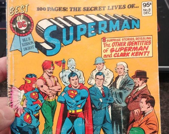 Hard to find The Best Of DC Blue Ribbon Digest Superman #8 November / December 1980 The Secret Lives of Superman comic book