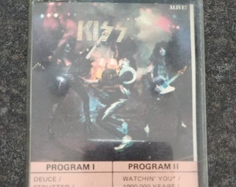 Very RARE Kiss Alive! the very first one 1975 early cassette tape yellow paper labels Quality Records Canada Casablanca Records Inc. USA