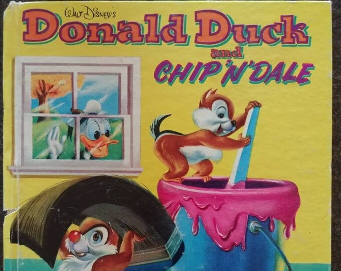 Vintage Walt Disney's Donald Duck and Chip n Dale Whitman Tell A Tale Book Western Publishing 1954 kids book