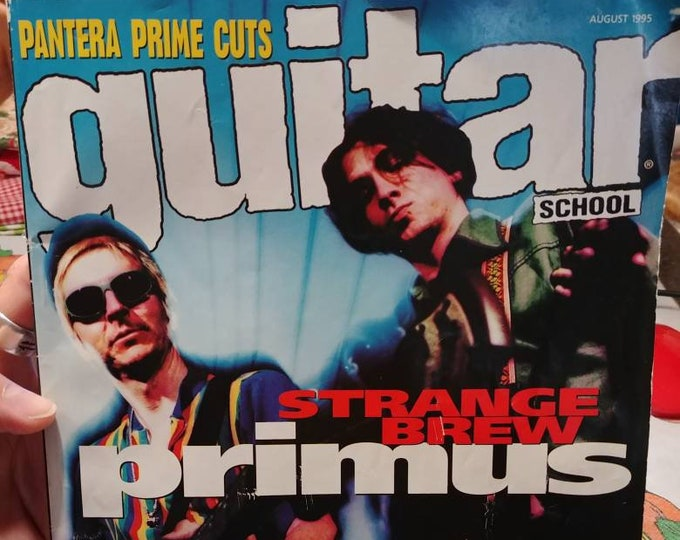 Rare vintage Guitar School magazine August 1995 Vol. 7 No. 4 Pantera Prime Cuts Cemetery Gates music tabs Primus Wynona's Big Brown Beaver