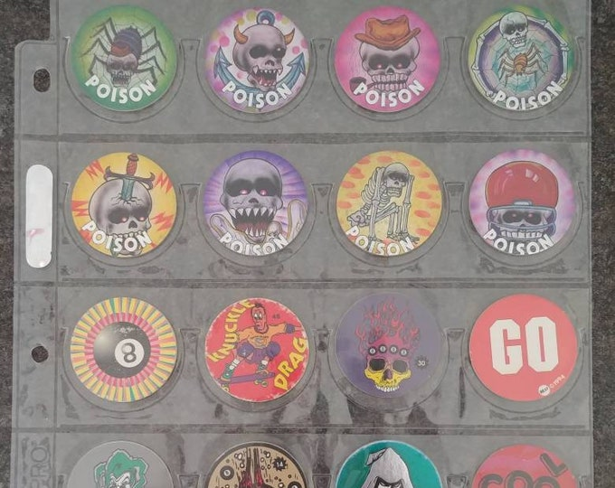 Random lot of 20 no name Pogs Milk Caps Power Caps Pog 1990's with Ultra Pro Pog Protective page