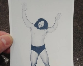 WWWF wrestling Bruiser Frank Brody Bruiser Brody legend promo style art print 4x6 photo WWE WWF