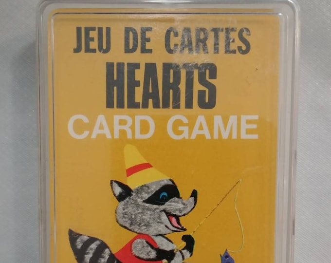 Original Whitman Card Game Hearts Animals pictures from 1963 Canadian Bi-Lingual complete game 46 card set kids games Western Publishing