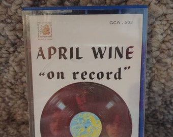 Very RARE April Wine On Record 1972 early cassette tape sticker labels blue color cassette classic Canadian hard rock Aquarius Records