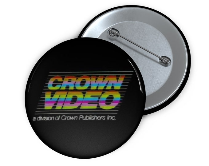 Custom Crown Video defunct VHS company Button handmade pin-back button retro style
