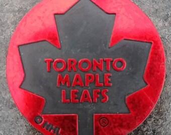 RARE hard plastic Toronto Maple Leafs NHL Milk Caps Slammer Pog 1990's red in color