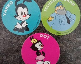 RARE Post Cereal 3 Animaniacs Pog Pogs Milk Caps 1995 promo kids cereal Kraft Canada