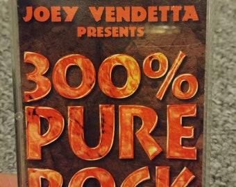 Rare Joey Vendetta Presents 300% Pure Rock 1996 Quality Music Canadian version cassette tape black compilation