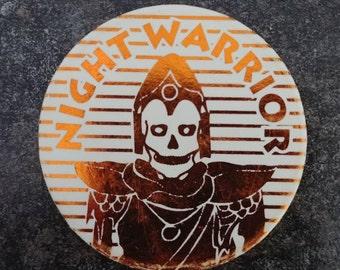HTF Night Warrior Skull Warrior gold foil Pog Pogs Milk Caps 1990's