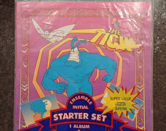 Rare vintage The Tick Panini Album and Stickers starter set 1995 Fox Kids album and 30 stickers cartoon NEW sealed in bag
