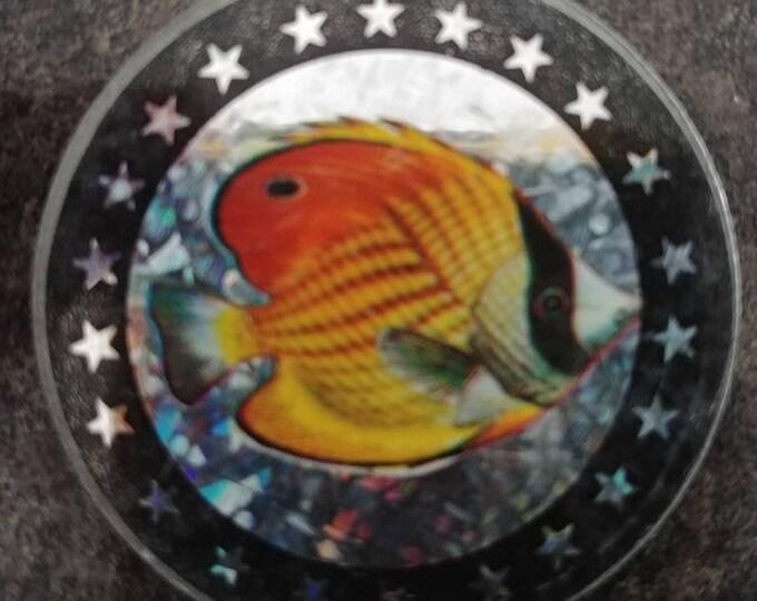 RARE heavy metal Pogs Slammer Milk Caps Slammer Pog Fish Angel Fish gold 1990's