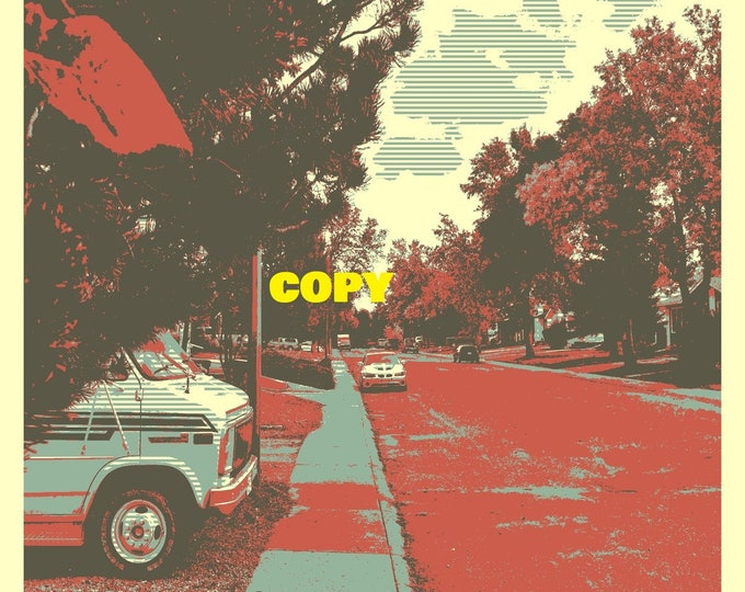 Custom made Pop Art Fall Time home town neighborhood street photo picture retro style art 4x6