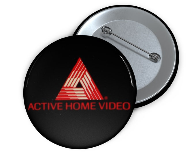 Custom Active Home Video defunct VHS company Button handmade pin-back button retro style