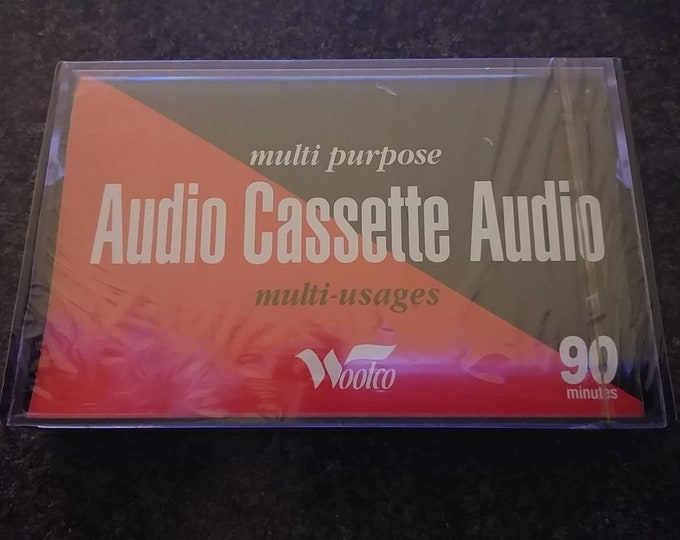 Rare vintage old NEW stock Woolco Canada Audio Cassettes 90 minutes 1990's recordable tapes price for 1 cassette