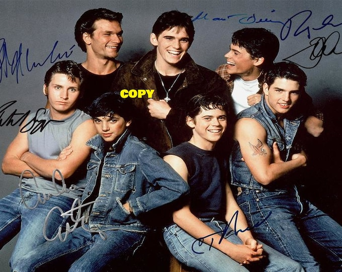 The Outsiders movie cast all 7 actors signed reprint photo poster autograph RP