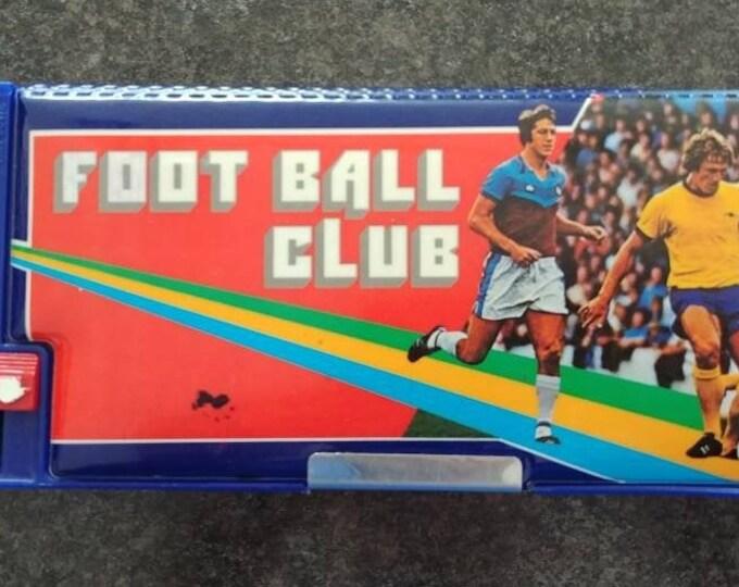 Rare retro vintage Kutsuwa Pencil Case Box soccer themed Foot Ball Club vinyl puffy cover Japanese made 1970's Flomo sports