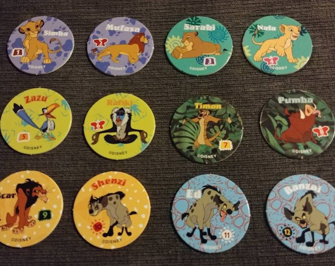 Very RARE Canadian issued Rice Krispies The Lion King Walt Disney Pogs Milk Caps complete set of 12 from 1995