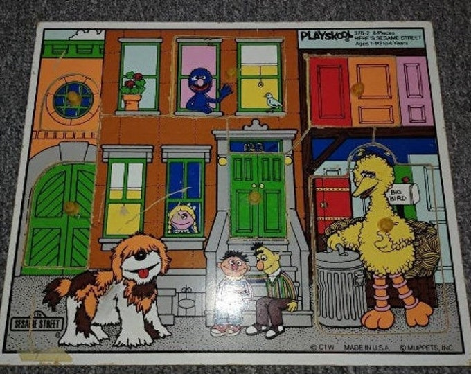 Rare vintage Playskool Sesame Street wooden tray puzzle toy TV kids show Big Bird 1980's
