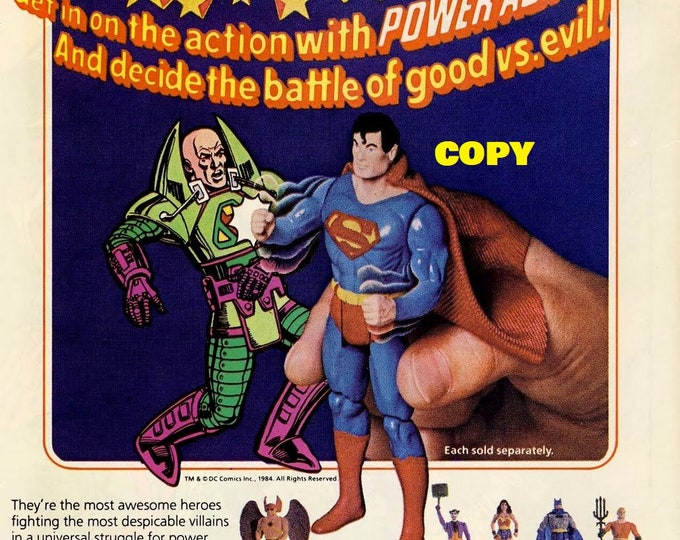 Retro Toy ad advertisement Kenner Super Powers Collection figures 1980's picture photo RP 4x6