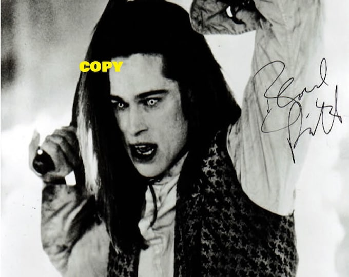 Brad Pitt Interview with the Vampire movie 1994 black and white signed reprint photo poster autograph RP