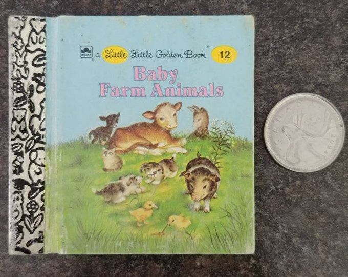RARE Vintage Little Little Golden Book miniature book number 12 Baby Farm Animals