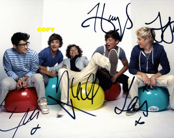 One Direction Pop band boy band Harry Styles all 5 members signed reprint photo #3 poster autograph RP