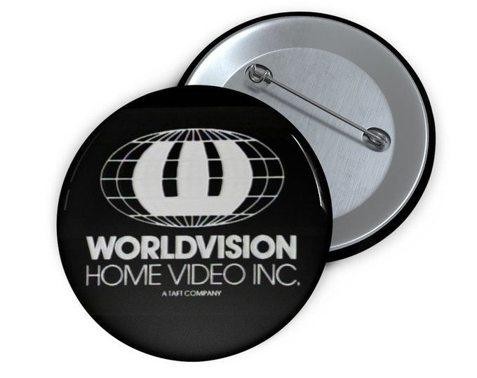 Custom Worldvision Home Video Inc. defunct VHS company Button handmade pin-back button retro style