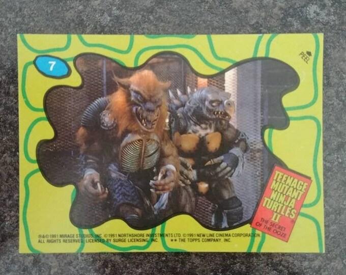 Teenage Mutant Ninja Turtles 2 Secret of the Ooze 1991 Topps trading card 1 sticker card #7 TMNT movie cards