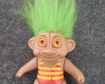 Rare hard to find small Trolls Doll figure in striped swimsuit Soma 1992 light up red eyes moveable arms and legs green hair