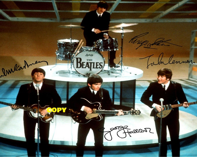 The Beatles British rock band all 4 members signed reprint photo poster autograph RP