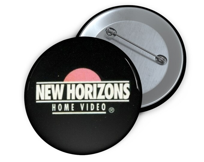 Custom New Horizons Home Video defunct VHS company Button handmade pin-back button retro style