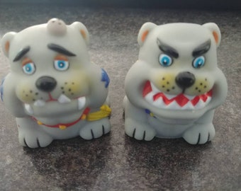 Vintage 1980's rubber dog bull dogs injured mean face pencil sharpeners figures hard to find retro made in China