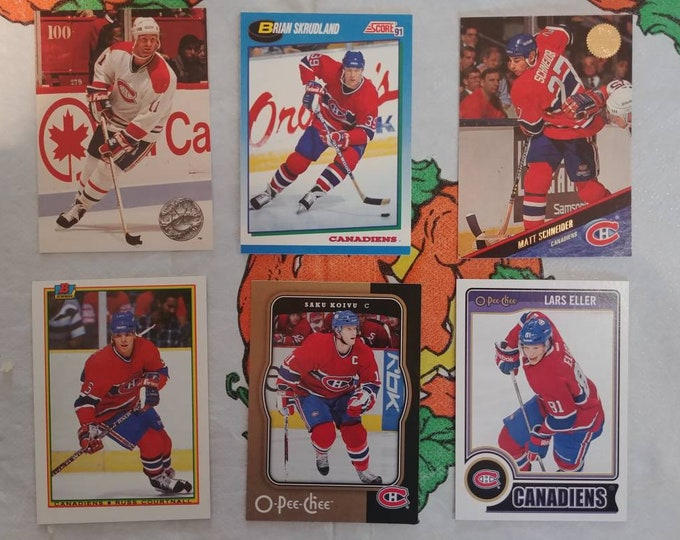 Random lot of 6 Montreal Canadiens NHL hockey cards Pro Set Score Leaf Bowman O-Pee-Chee Muller Skrudland Koivu