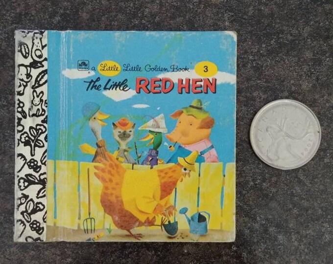 RARE Vintage Little Little Golden Book miniature book number 3 The Little Red Hen