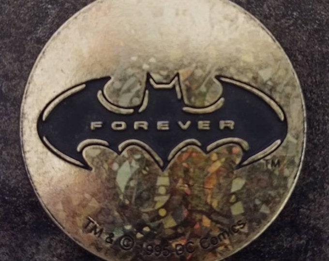 RARE hard plastic Slammer Batman Forever McDonald's Milk Caps Pog 1995 shiny gold color