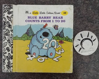 RARE Vintage Little Little Golden Book miniature book number 48 Blue Barry Bear Counts From 1 to 20