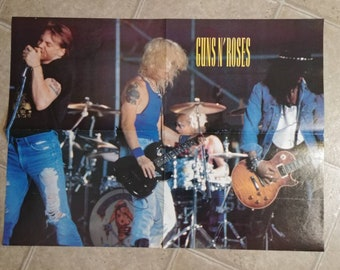 Vintage rare 1990's music magazine centerfold band large poster Guns N' Roses and Alice In Chains double sided Axl Rose Jerry Cantrell