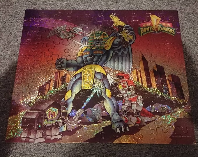 Retro Mighty Morphin Power Rangers King Sphinx 1993 holographic looking puzzle 100 pieces Saban Entertainment MB