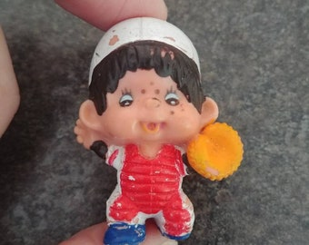 Vintage 1979 Monchhichi Baseball Catcher Shortstop PVC figure hard to find hard plastic toy