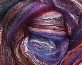 White Gemstone Silk Merino Roving Gold Magenta and Pink by Ashford: Earthly Rainbow with Purple