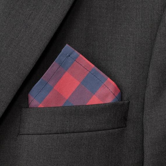 NEW Pocket Square Checks Polka Dots Nautical Red Blue Reversible Gift Cotton