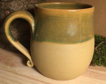 Drinking mug green mug cup coffee cup water glass ceramic clay approx. 350/ 400ml
