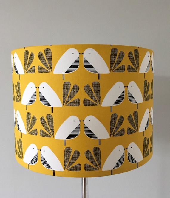 Mid century Retro Nesting Birds in mustard Lampshade// Pendant