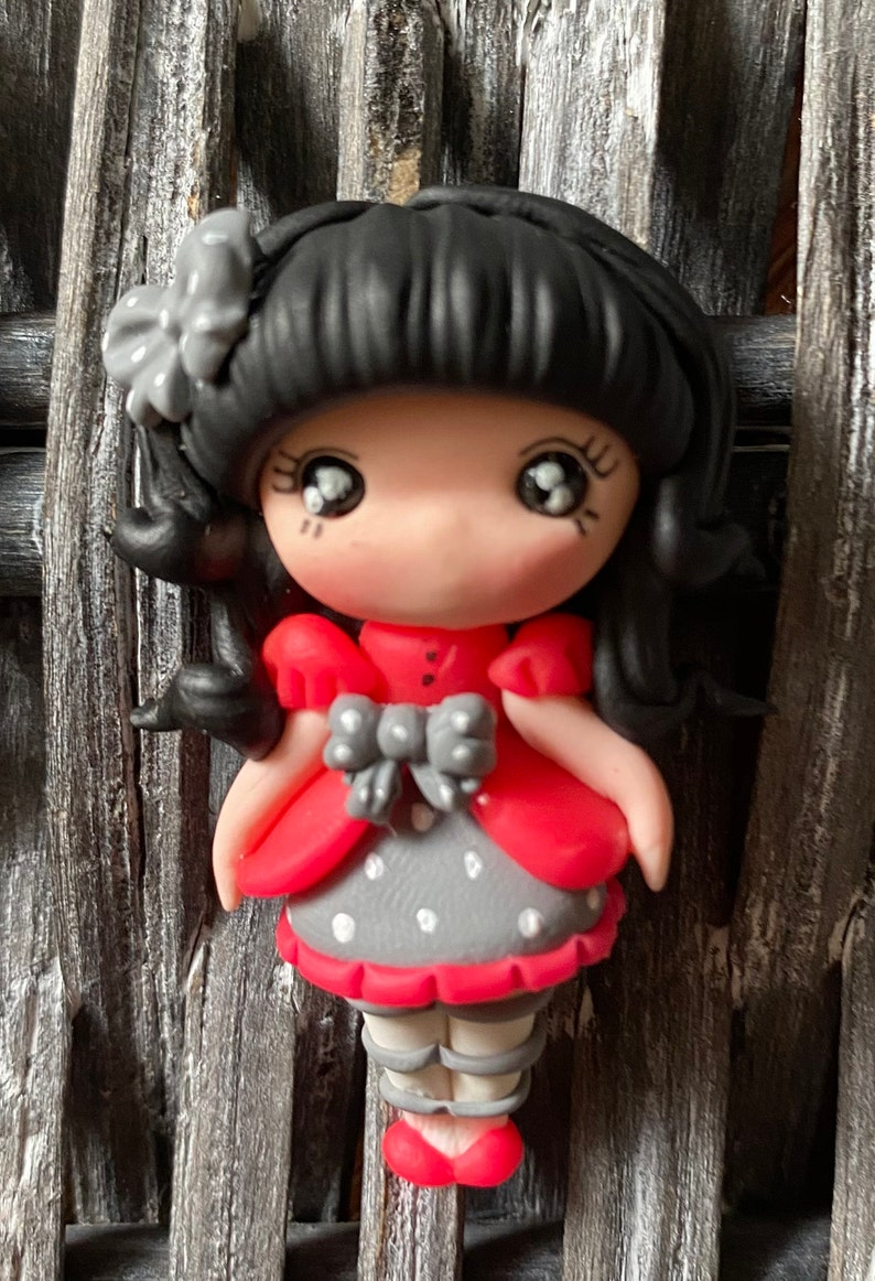 bow center piece Winter clay dolls bow embellishment bow clays flat back clay